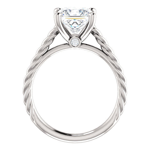 0.80 Ct. Princess cut Rope Style Diamond Engagement Ring Set D Color VS1 GIA Certified