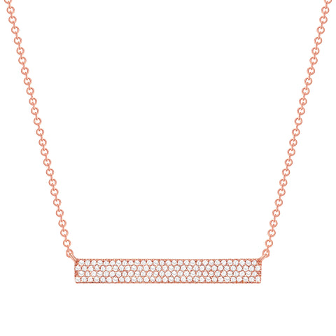Rose Gold Thick Diamond Bar Necklace