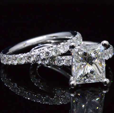 2.80 Ct. Princess Cut Diamond Engagement Set G Color VS2 GIA Certified