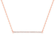 Horizontal Diamond Bar Necklace Yellow Gold