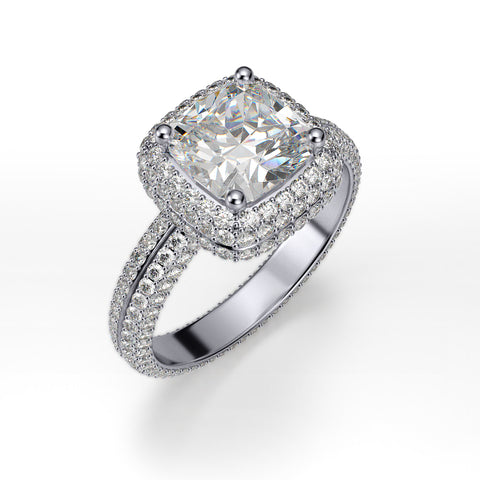 3.40 Ct. Cushion Cut Micro Pave Halo Diamond Ring Eternity H Color VS1 GIA Certified