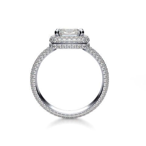 Cushion Cut Micro Pave Halo Diamond Ring Eternity