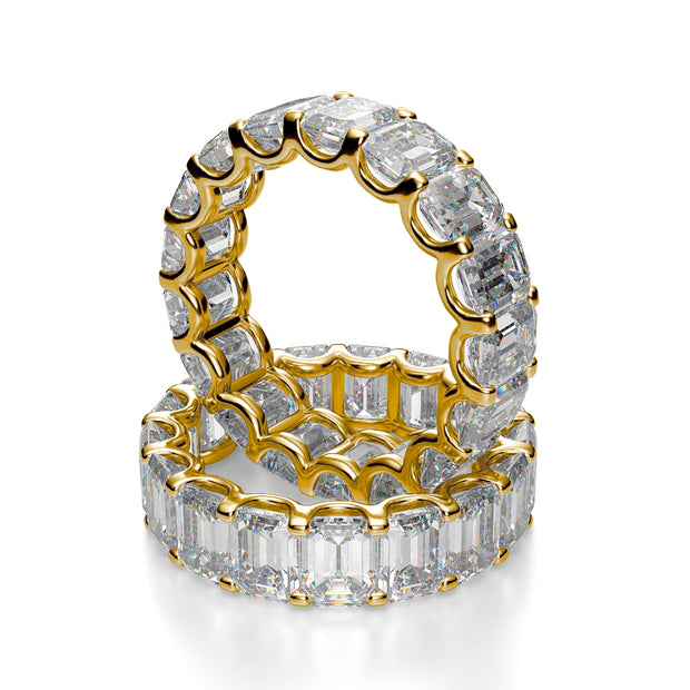Emerald Cut Diamond Eternity Ring yellow gold