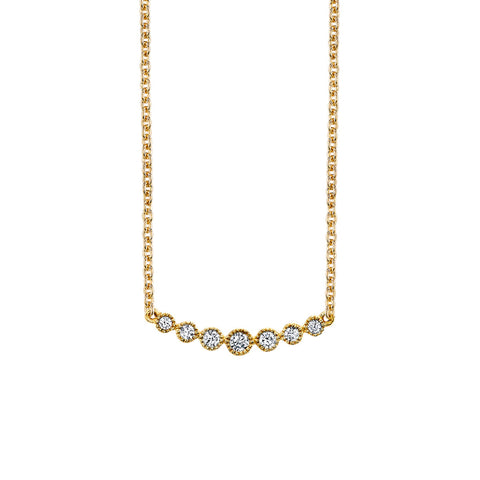 LEDODI Seven Stone Diamond Bar Necklace