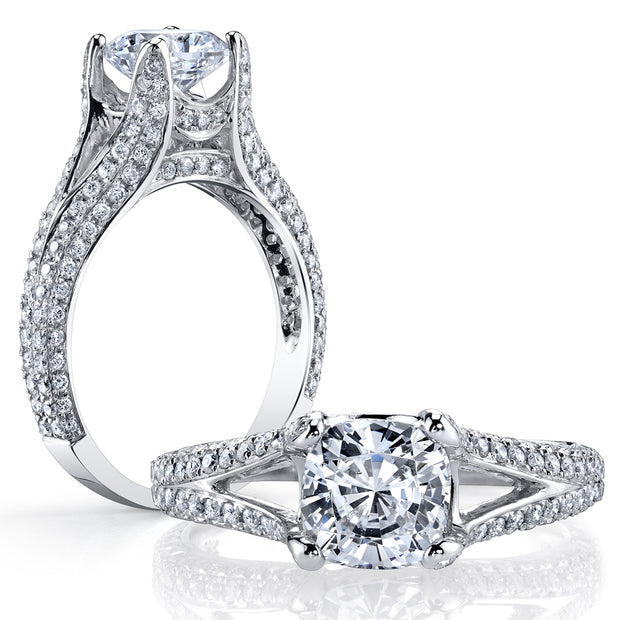 4.00 Ct. Cushion Cut Split Shank Diamond Engagement Ring J Color VS1 GIA Certified