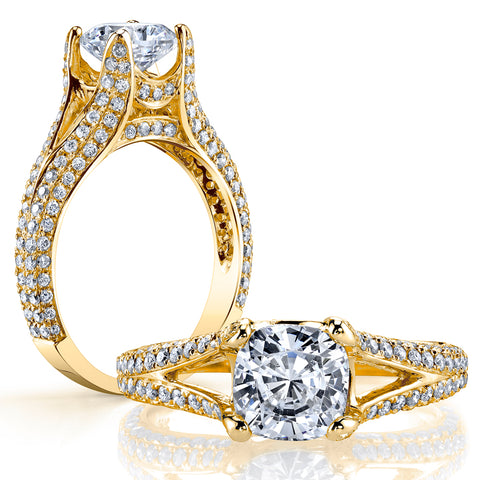 3.50 Ct. Cushion Cut Split Shank Diamond Engagement Ring G Color VS1 GIA Certified