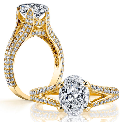 3.50 Ct. Oval Cut Diamond Split Shank Engagement Ring G Color VS1 GIA Certified
