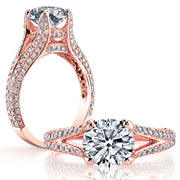 2.30 Ct. Round Cut Split Shank Pave Diamond ring H Color VS2 GIA Certified Triple Excellent