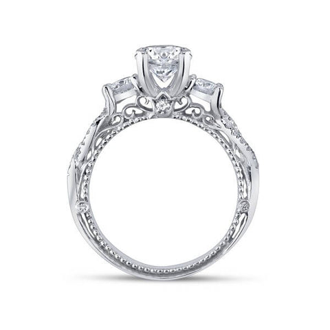 Round Brilliant Cut Verragio Venetian Diamond Three Stone Cross Over Engagement Ring