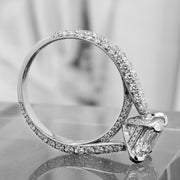 3 Row Pave Asscher Cut Diamond Engagement Ring Side View