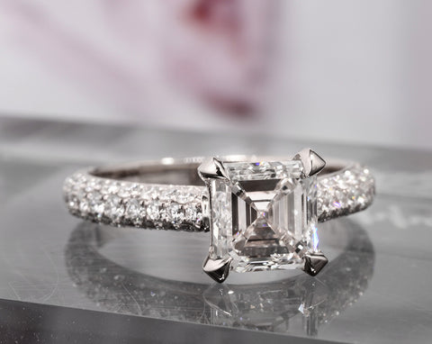 2.80 Ct. 3 Row Pave Asscher Cut Diamond Engagement Ring H Color VS1 Clarity GIA Certified