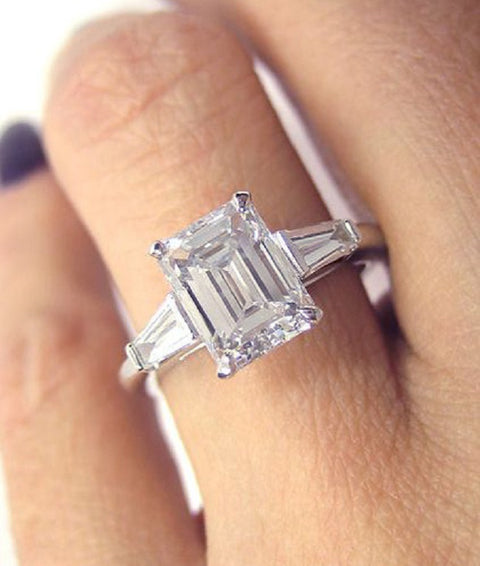 1.20 Ct. Emerald Cut Diamond Engagement Ring Set D Color VS1 GIA Certified