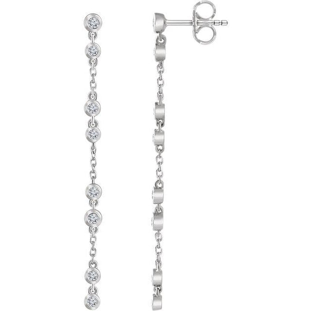 white gold bezel diamond chain earrings