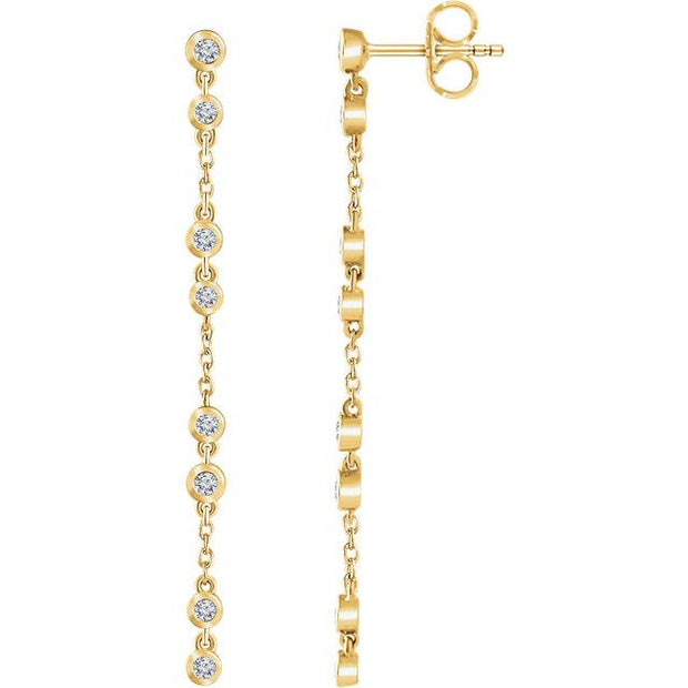 yellow gold bezel diamond chain earrings