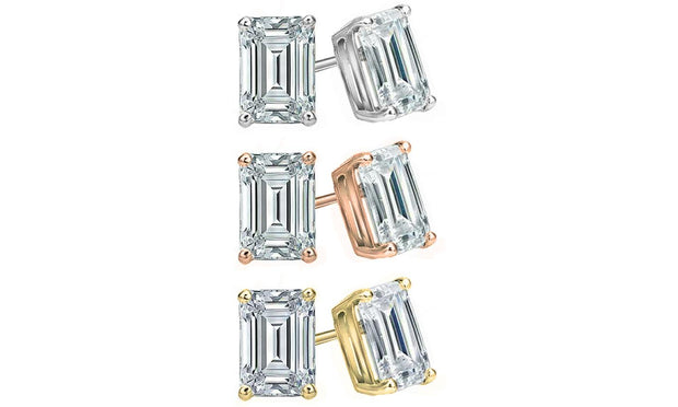 2.40 Ct. Emerald Cut Diamond Stud Earrings H Color VS1 Clarity GIA Certified