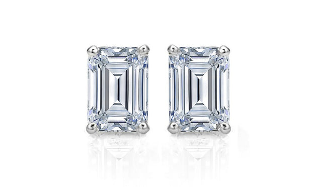 3.00 Ct. Emerald Cut Diamond Stud Earrings G Color VS1 Clarity GIA Certified