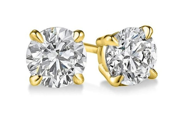 0.80 Ct. Round Brilliant Cut Diamond Stud Earrings F Color VS2 Clarity GIA Certified 3X