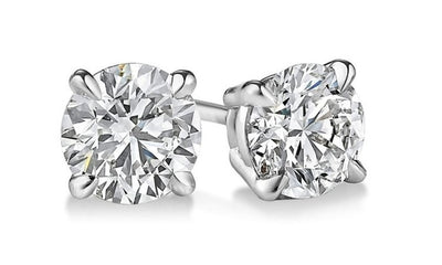 2.20 Ct. Round Brilliant Cut Diamond Stud Earrings F Color VS2 Clarity GIA Certified 3X