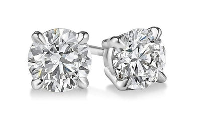 1.00 Ct. Round Brilliant Cut Diamond Stud Earrings F Color VS1 Clarity GIA Certified 3X