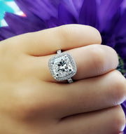 2.90 Ct. Halo Cushion Cut Diamond Engagement Ring GIA G Color VS2 GIA Certified