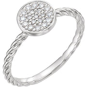 white gold diamond cluster rope ring