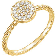 yellow gold diamond cluster rope ring