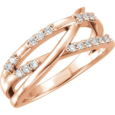 rose gold diamond criss cross ring