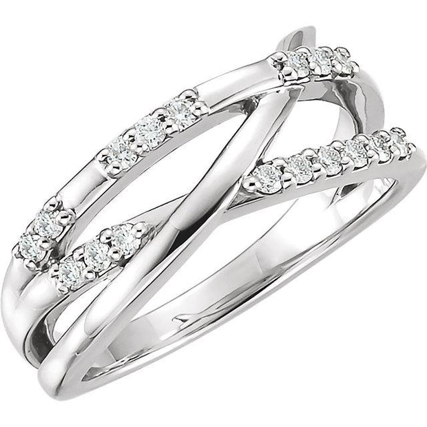 white gold diamond criss cross ring