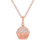 rose gold cupcake diamond pendant necklace