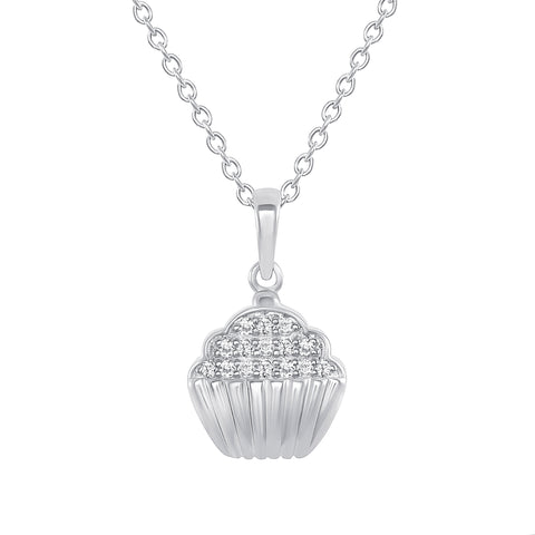 white gold cupcake diamond pendant necklace