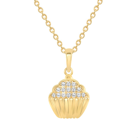 yellow gold cupcake diamond pendant necklace