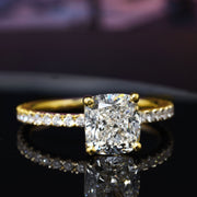 1.30 Ct. Cushion Cut Solitaire Diamond Engagement Ring w Accents G Color VS2 GIA Certified