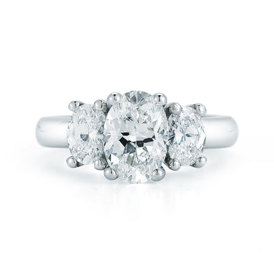 3 Stone Oval Cut Diamond Engagement Ring