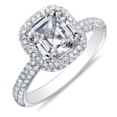 1.95 Ct. Asscher Cut Halo Pave Diamond Engagement Ring H Color VS2 GIA Certified