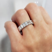 7.00 Ct. All GIA certified Emerald Cut Diamond Eternity Ring on hand