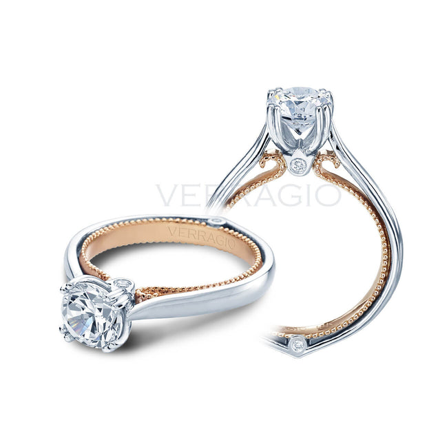 Verragio Couture Round Brilliant Cut Diamond Engagement Double Pronged Solitaire