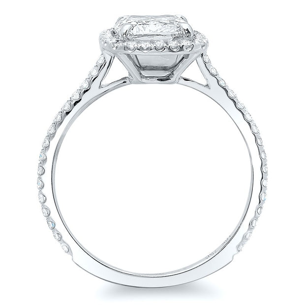 3.25 Ct. Rectangle Cushion Cut Halo Diamond Engagement Ring G Color VS2 GIA Certified