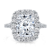 3.85 Ct. Halo Radiant Cut Split Shank Diamond Ring I Color VS1 GIA Certified