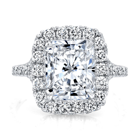 2.55 Ct. Radiant Cut Halo Split Shank Diamond Ring H Color VS2 GIA Certified