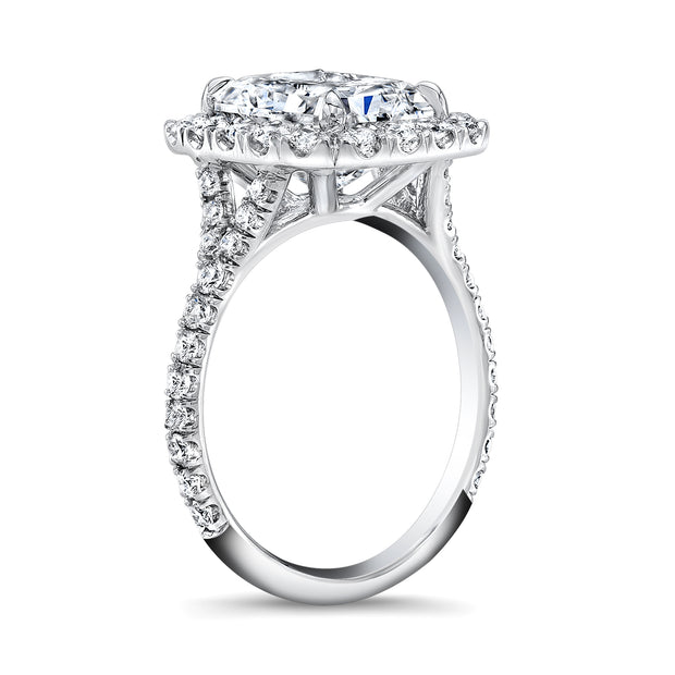 2.05 Ct. Halo Radiant Cut Split Shank Diamond Ring E Color VS1 GIA Certified