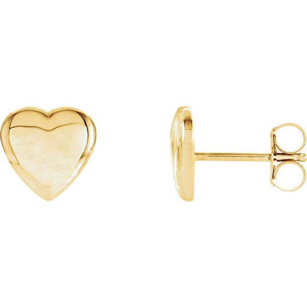 yellow gold heart stud earrings