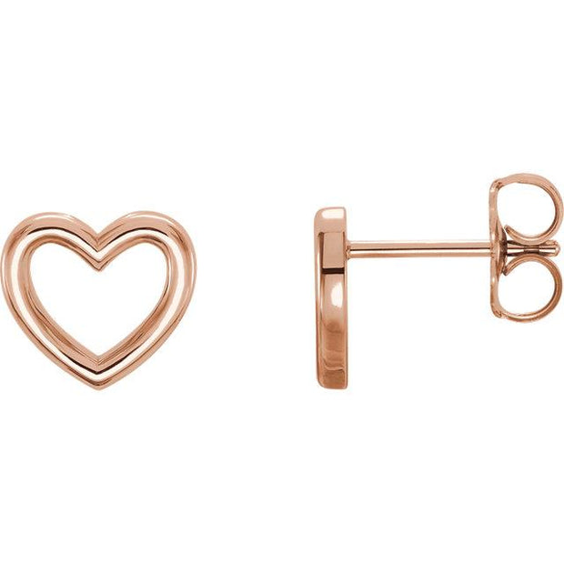 rose gold heart outline earrings