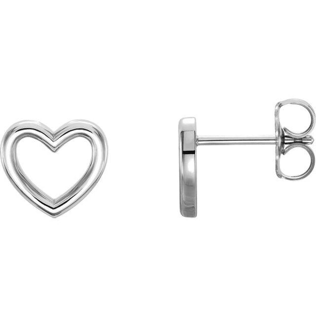 white gold heart outline earrings