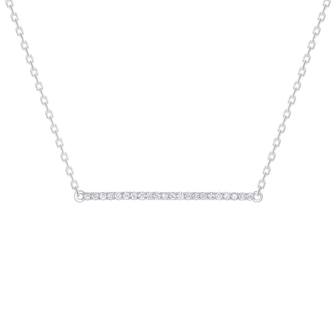 Horizontal Diamond Bar Necklace White
