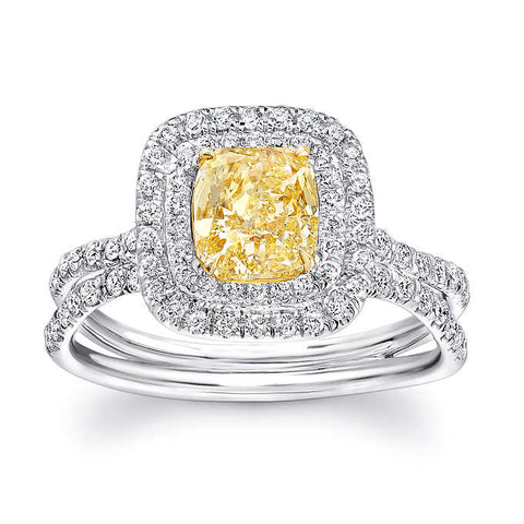 2.35 Ct. Dual Halo Canary Fancy Yellow Cushion Cut Diamond Ring VS2 GIA Certified