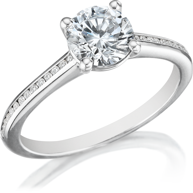 1.25 Ct. Round Cut Diamond Engagement Ring w Accent G Color SI1 GIA Certified