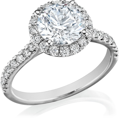 2.75 Ct. Halo Round Cut Diamond Engagement Ring J Color VS2 Clarity GIA Certified