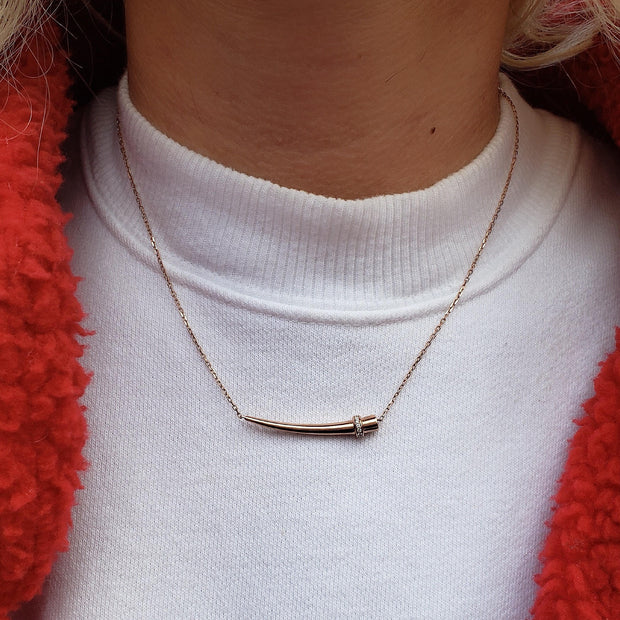 14k gold horn diamond necklace