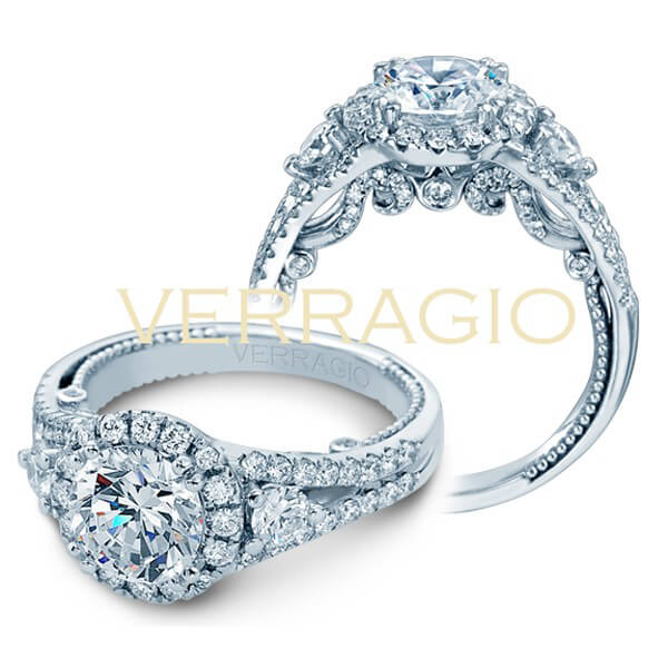 Designer Three Stone Round Cut Halo Diamond Engagement Ring From The Verragio Insignia Collection