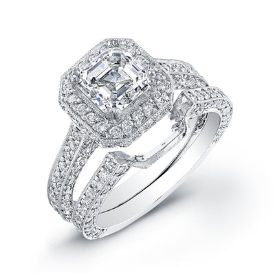 3.05 Ct Lux Halo Asscher Cut Diamond Engagement Ring Set G Color VVS2 GIA Certified